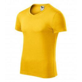 Tričko pánské SLIM FIT V-NECK L žlutá