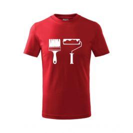dětské tričko Štětec a váleček červená 134