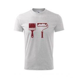 dětské tričko Štětec a váleček světle šedý melír 146