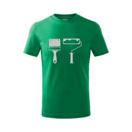 dětské tričko Štětec a váleček středně zelená 146