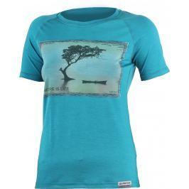 Lasting  LAKE 5858 modré vlněné merino triko s tiskem Velikost: M