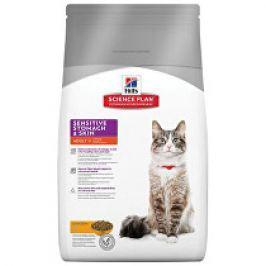 Hill's Feline Dry Sensitive Stomach Skin s kuřete 1,5kg Plníme misky