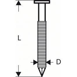 Hřebíky s kulatou hlavou v pásu SN21RK 75RG - 2,8 mm, 75 mm, pozinkovaný, drážkovaný - 316 BOSCH