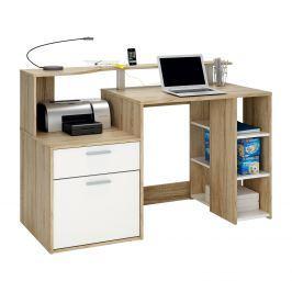 PC stůl ORACLE dub/perleťově bílá