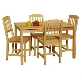 Stůl + 4 židle 8849 lak Jídelní stoly