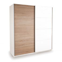 Skříň s posuvnými dveřmi DECOR 200 bílá/dub