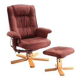 Relaxační masážní křeslo s podnožkou hnědé K47 Křesla