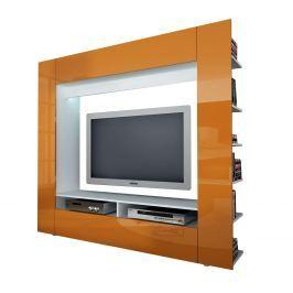 Televizní stěna OLLI bílá/lesklá oranžová Pokojové stěny