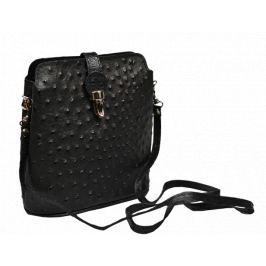 Černá kožená kabelka Fibbia Nera