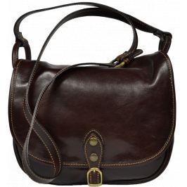 Hnědá kožená kabelka přes rameno Caccia Cafe