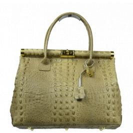 Hnědá kožená kabelka Laureta Taupe Cocco