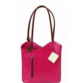 Růžové kožené kabelky přes rameno Clarise Fuxia Marrone