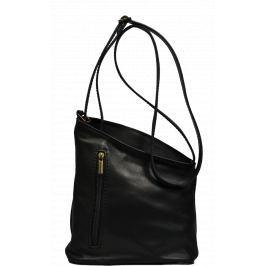 Malá černá kožená kabelka Angola Nera Oro
