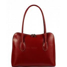 Červená kožená kabelka Palagio Rossa Scura