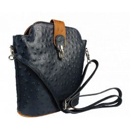Italská kožená kabelka Fibbia Blu Camel Prima