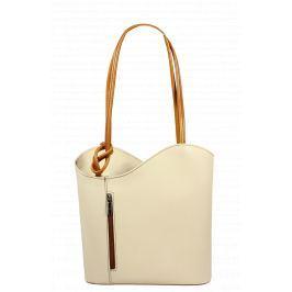 Béžová kožená kabelka Clarise Beige Camel Chiaro
