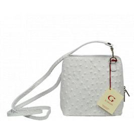 Malá bílá kožená kabelka přes rameno Grana Bianca Struzzo