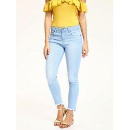 Top Secret Jeansy dámské světle modré a roztřepené ve spodním lemu