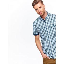 Top Secret Košile pánská modrá kostkovaná s krátkým rukávem