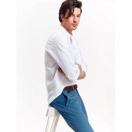 Top Secret Košile pánská bílá lněná s dlouhým rukávem