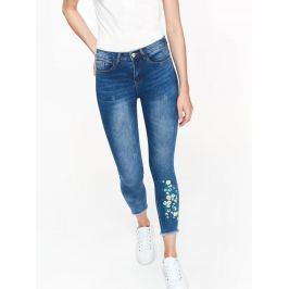 Top Secret Jeansy dámské modré s květinovým potiskem
